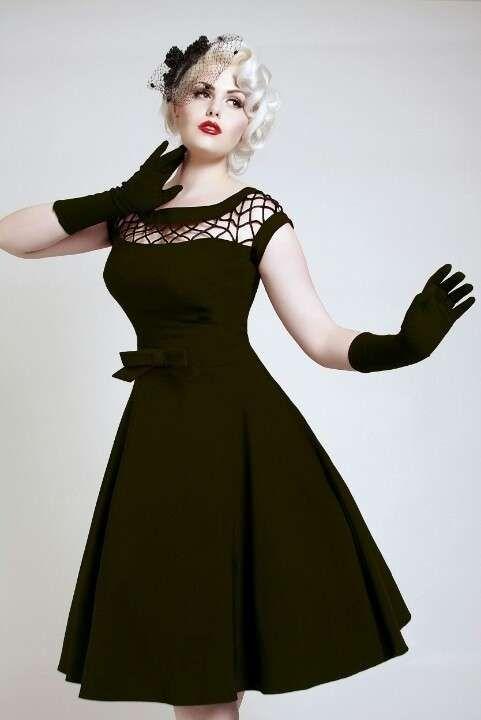 Vestidos pin-up: fotos modelos - Vestido pin-up negro vuelo y guantes