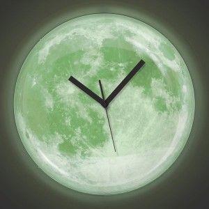 Photo of Moonlight Clock ساعة حائط القمر تضئ على شكل بدر كام…