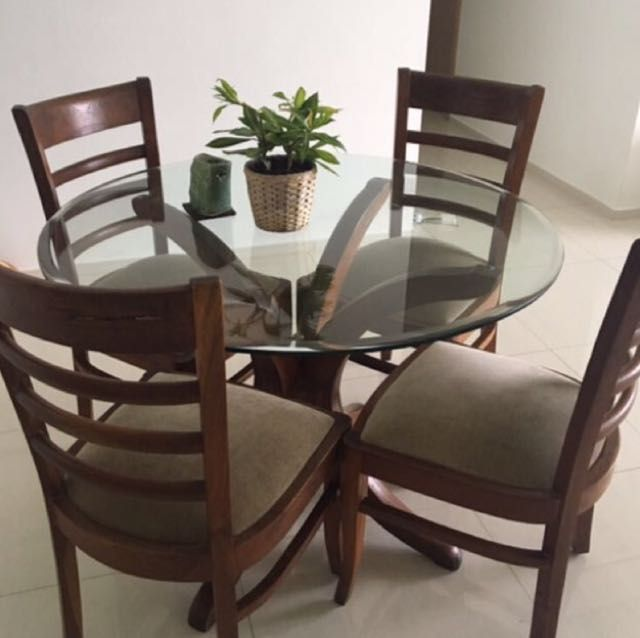 Pure Teak Wood 4 Seater Dining Table With Glass Top Preloved In