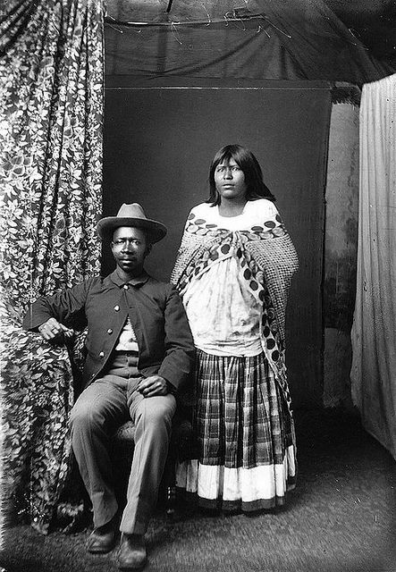 """Buffalo Soldier and Native American Wife - 1800s. """"During the mid-nineteenth century, people of color lived in relative freedom and safety in border regions on the outskirts of the Mexican territory or in sparsely settled areas of U.S. territory. Spanish-speaking communities composed of black people, Native Americans, and Native people from Mexico intermarried and created a culture that combined various traditions."""" Caption from link"""