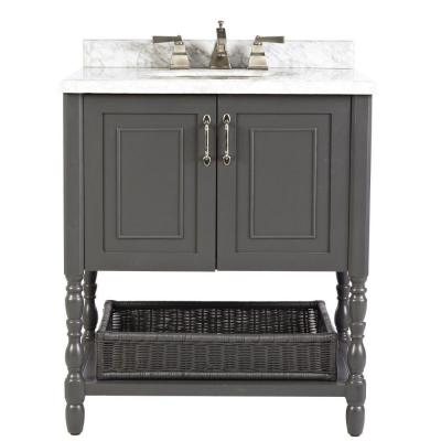 Home Decorators Collection Karlie 30 In W X 22 In D Bath Vanity In Dark Charcoal With Natural Marble Vanity Top In White 8108500270 With Images Marble Vanity Tops Vintage Bathroom Vanities Vanity