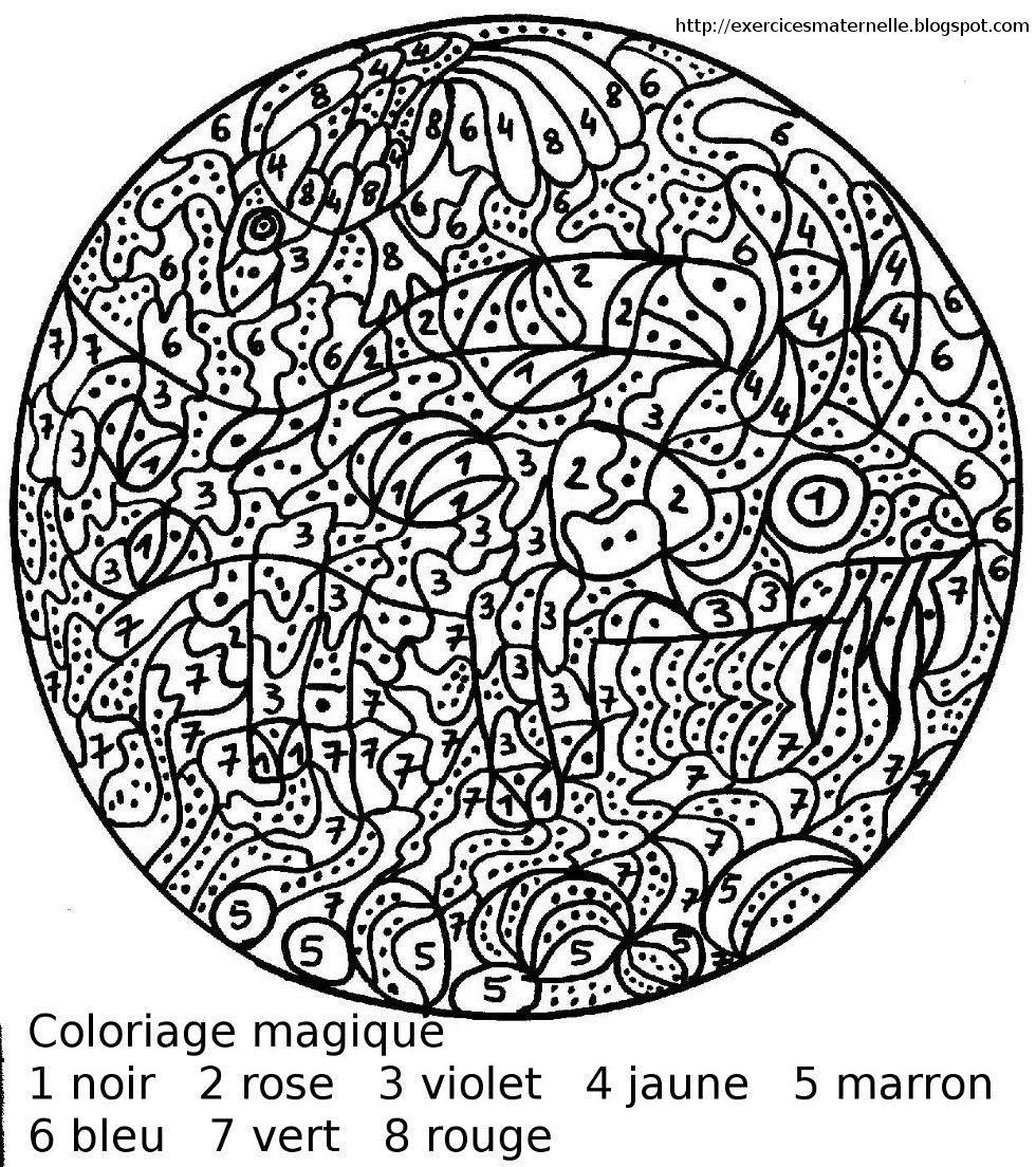 Maternelle: coloriage magique  Coloriage magique, Coloriage