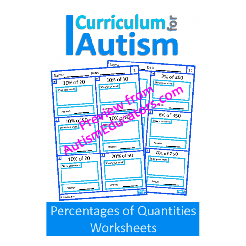 Percentages of Numbers Worksheets, Middle School Math | Autism ...