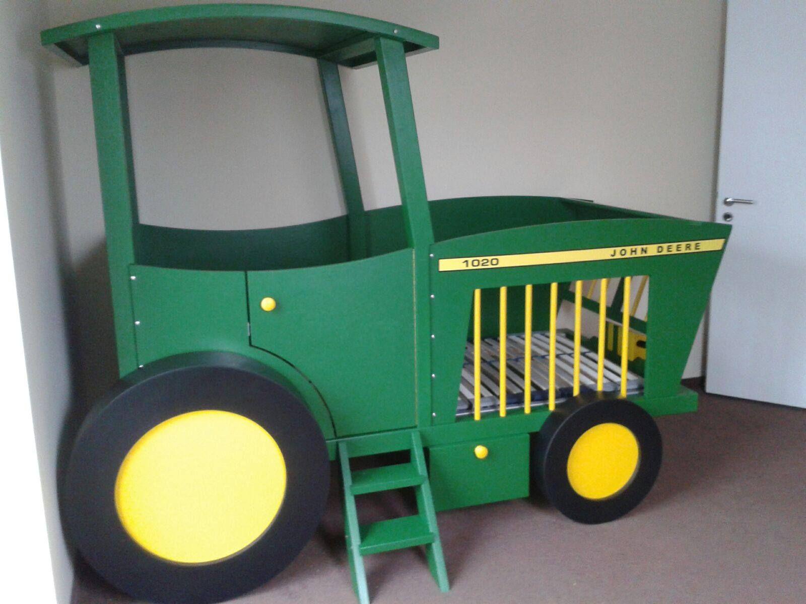 Kinderbett selber bauen traktor  zusätzlicher Stauraum | Treckerbett, Traktorbett, Kinderbett ...
