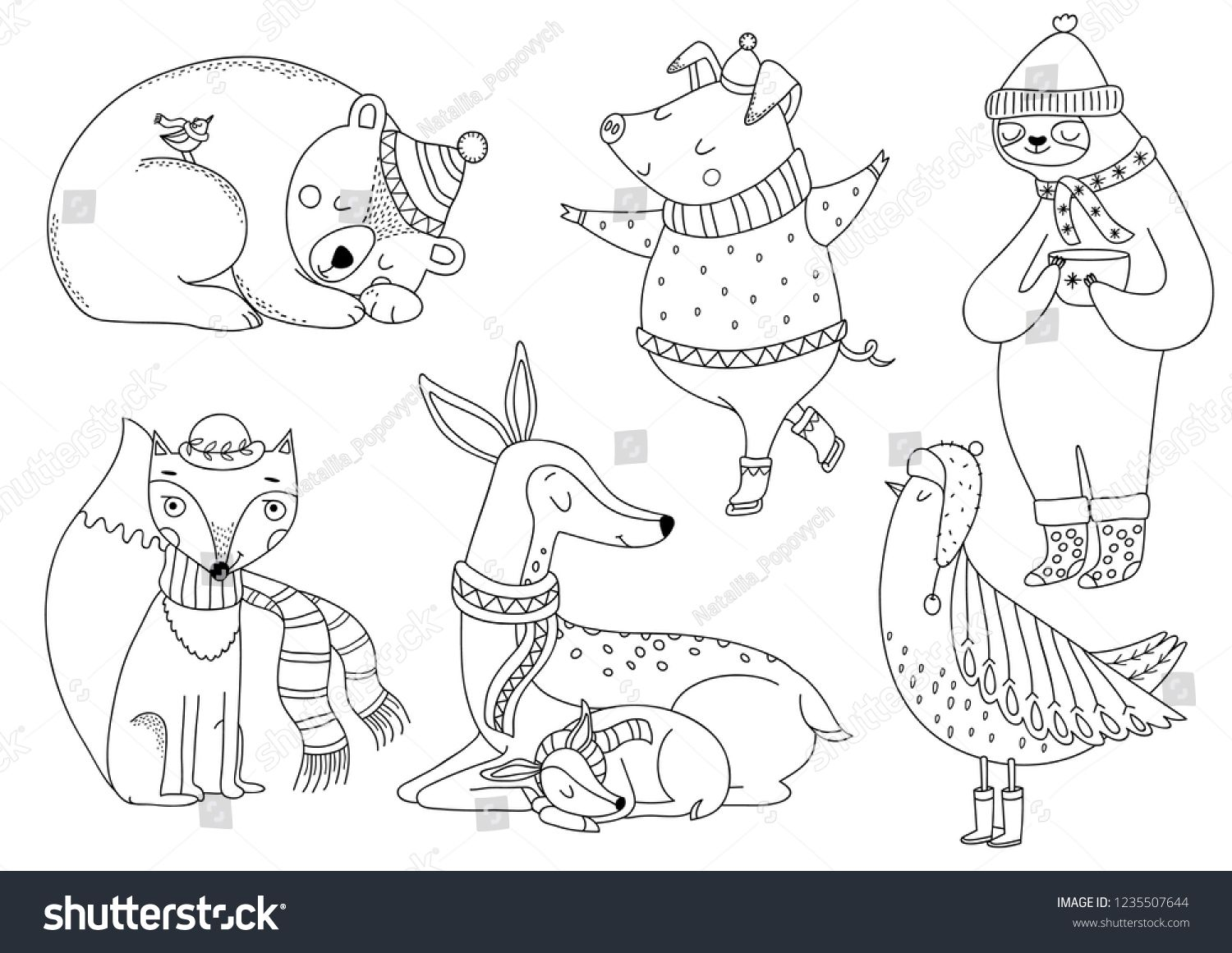 Cute Animals Coloring Page Outline Animal Characters Forest Animals Collection With Deer Family Christmas Bear Animal Coloring Pages Winter Bird Deer Family
