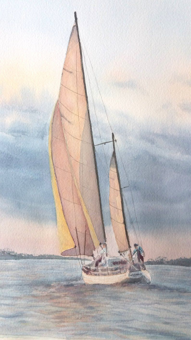 Sailing Boat Sailboat Painting Watercolor Sailboat Seascape En