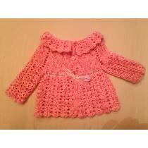 Saquito Bebe Tejido A Crochet