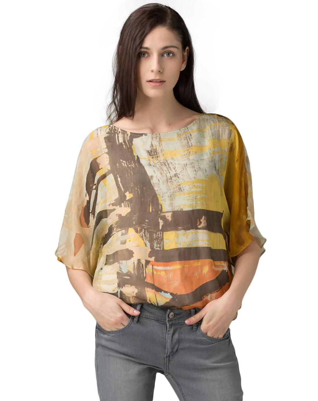 #AdoreWe #VIPme Blouses & Shirts - SAINTY Yellow Ruffle Half Sleeve Printed 100% Silk Shirt - AdoreWe.com