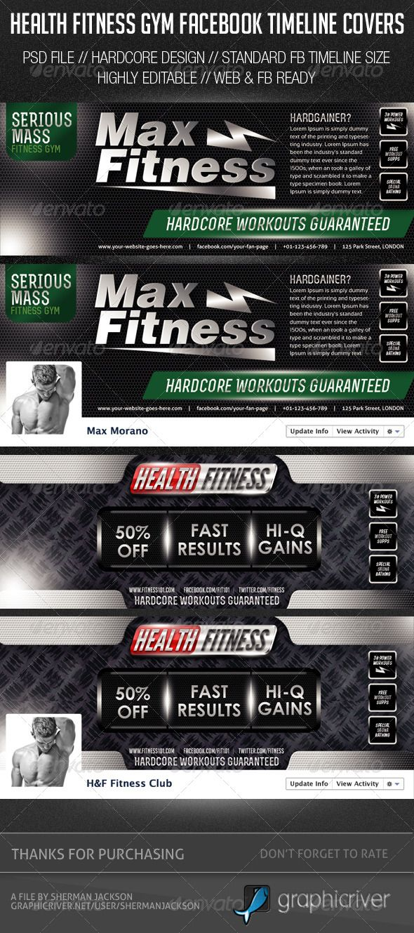 Health Fitness Gym Facebook Cover Photos (With images ...
