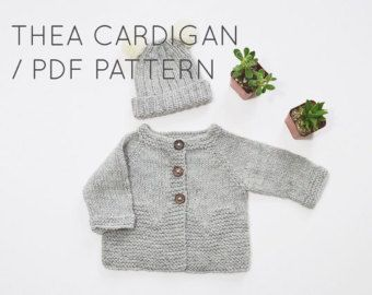 Thea Cardigan PDF Download // Baby Cardigan Sweater Knitting Pattern - Knitted Sweaters - Easy Knitting Patterns - Baby Knitwear Patterns