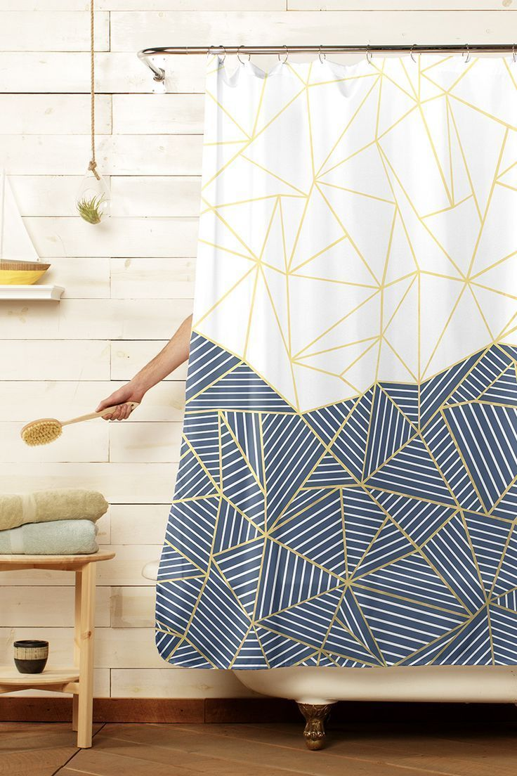 Geometric Triangle navy blue and white gold shower curtain by Emeline tate of Project M