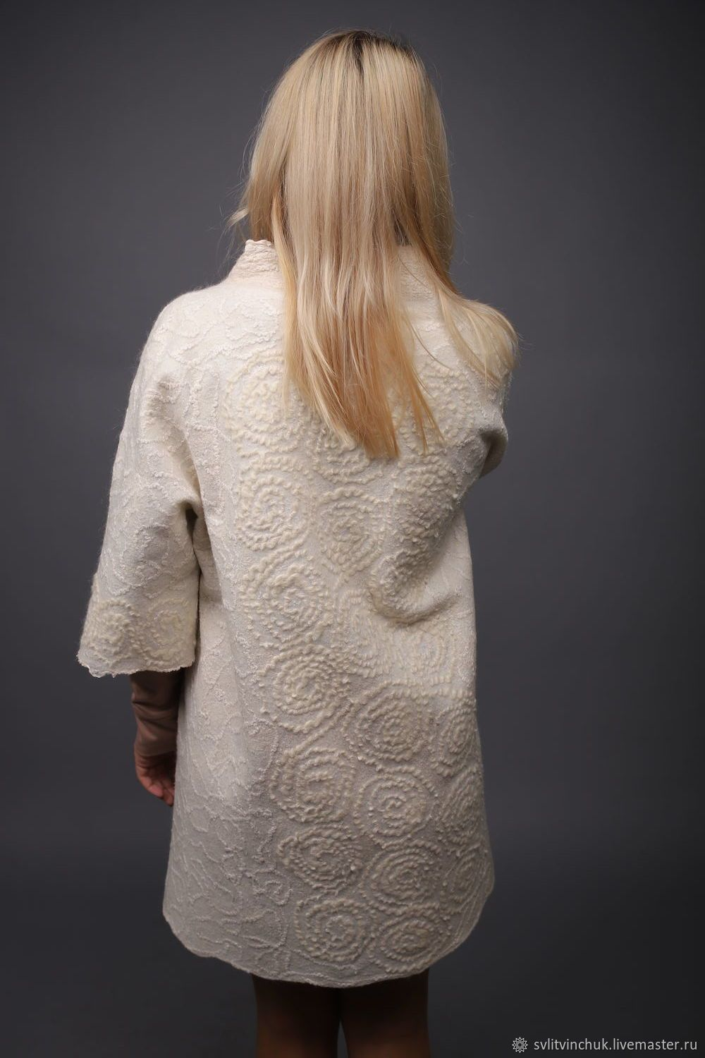 Photo of Cardigan felted Summer coat natural …