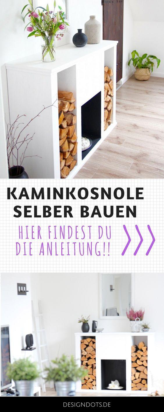 DIY Kaminkonsole selbst bauen | Kamin dekorationen, Kamin wohnzimmer ...