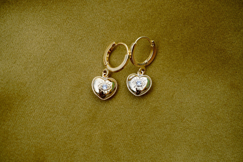 Evil eye and hearts earrings