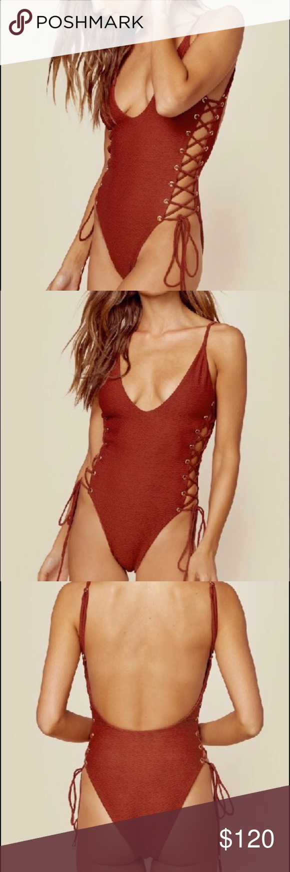 e974f8d488 ✨Blue Life Roped Up One Piece✨ Blue Life Roped Up ❣️Rust Color ❣ Sexy Lace  Up One Piece Swimwear Perfect For Summer ❣  swim  swimsuit  onepiece ...