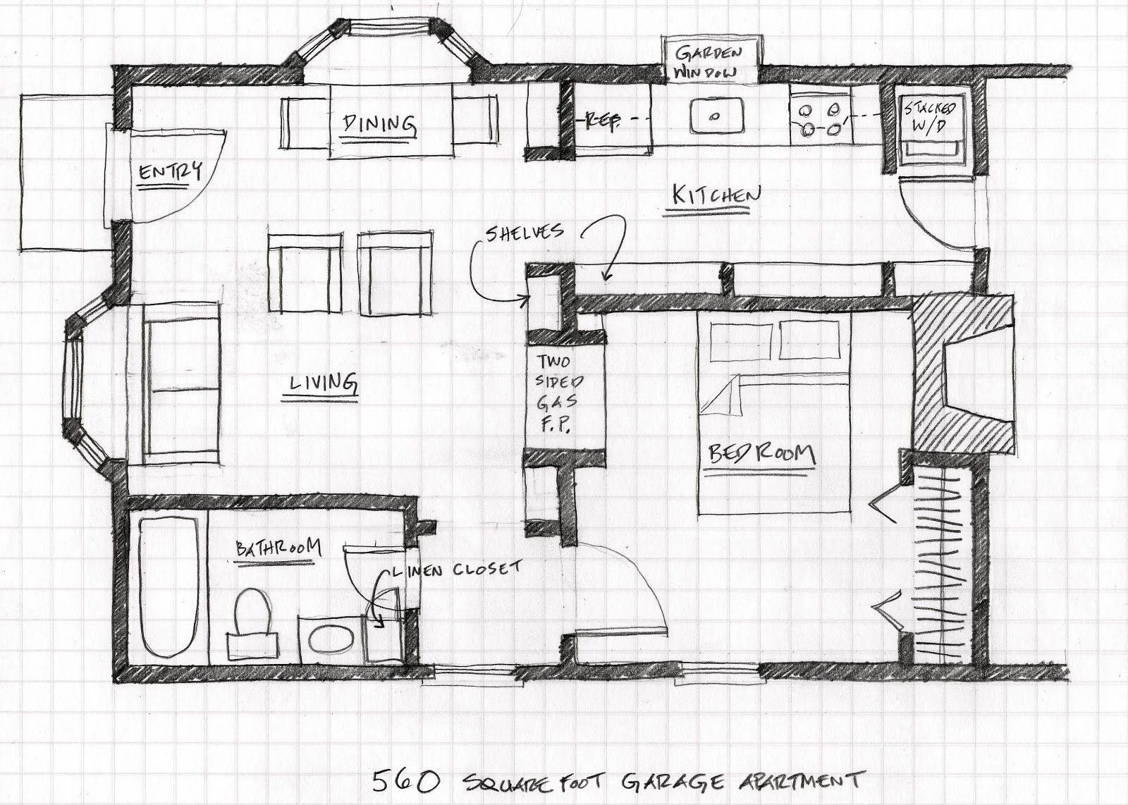 Small scale homes floor plans for garage to apartment for Garage apartment plans with kitchen
