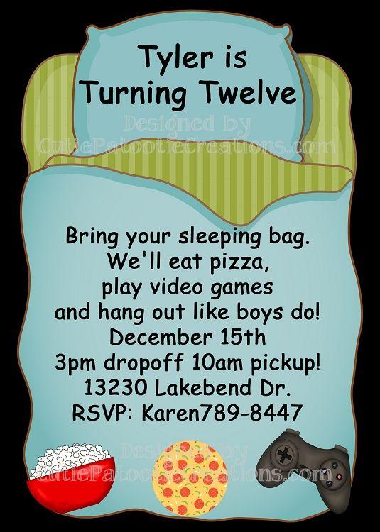 Sleepover Birthday Party Invitations For Boys Sleep Over