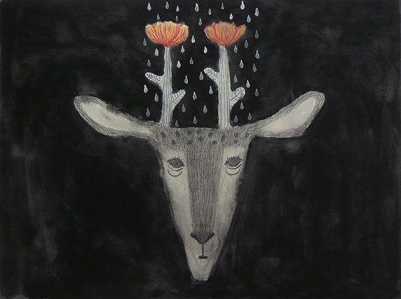 Etsy の Print Flower Deer by TetsuhiroWakabayashi