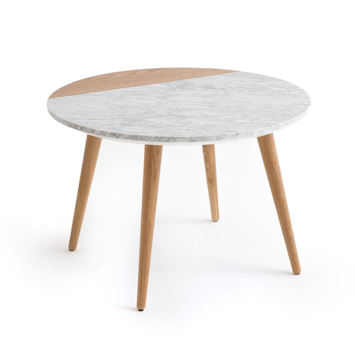 Table Basse Plateau Marbre Blanc Et Chene Crueso Taille Taille Unique Table Basse Table Basse Marbre Et Marbre Blanc