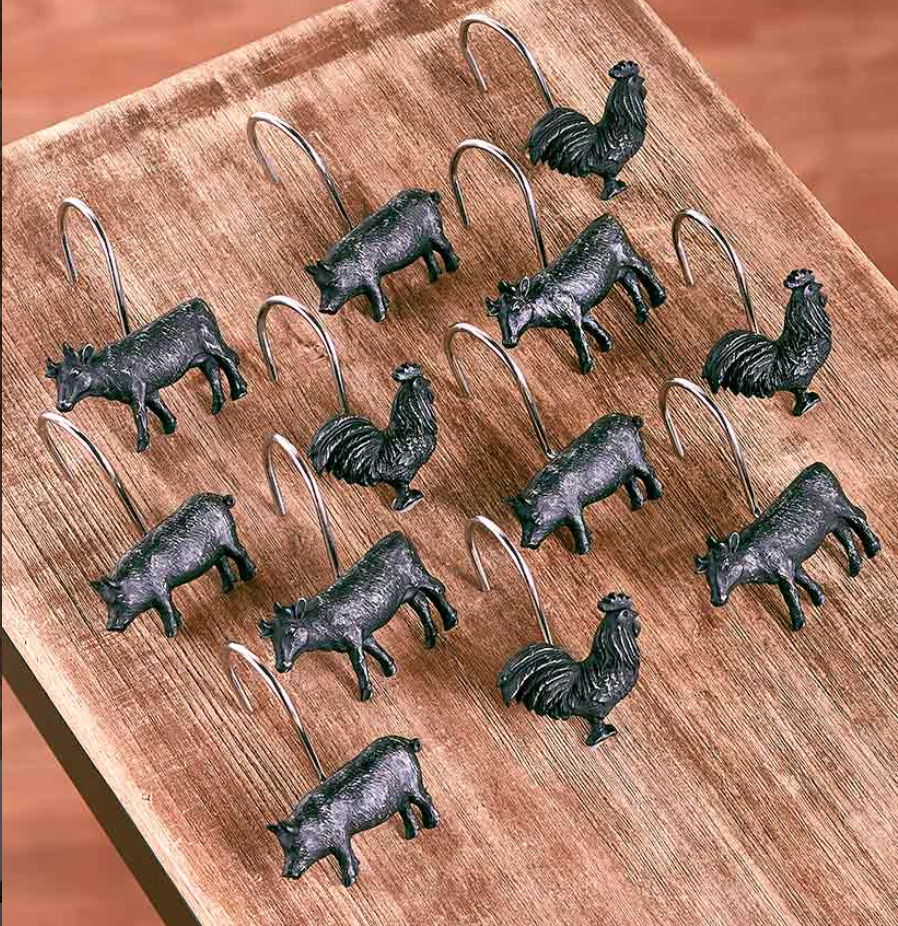 Barnyard Animal Shower Curtain Hooks Pig Bull Rooster Rustic