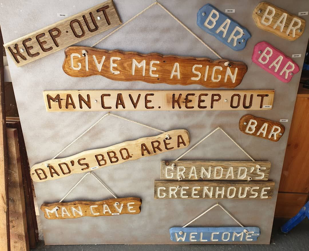 Various Signs I Have Available Upcycle Sign Pallet Palletwood Woodwork Workshop Givemeasign2020 Gardenfurniture Yourchoice