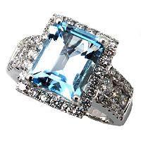 Emerald Cut Aquamarine Ring with Diamonds in 14k White Gold - Sam's Club