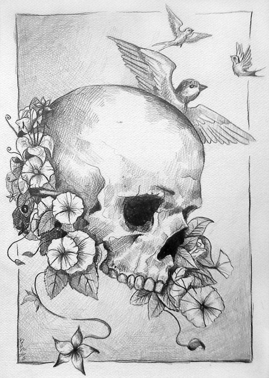 Skull And Flower Drawings Art | Graffiti Street Art ...