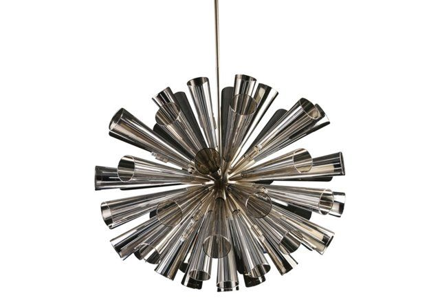"""Put this in your mod house! 30"""" Flute 18-Light Chandelier, Gray"""