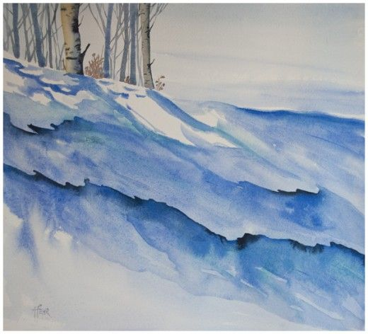 Slope In Shadow Watercolour On Paper Angela Fehr Aquarelle
