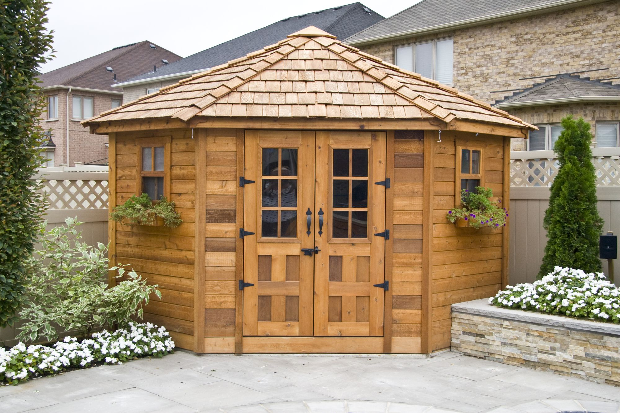 Outdoor Living Today Penthouse 9 Ft W X 9 Ft D Solid Wood Storage Shed Outdoor Sheds Corner Sheds Penthouse Garden