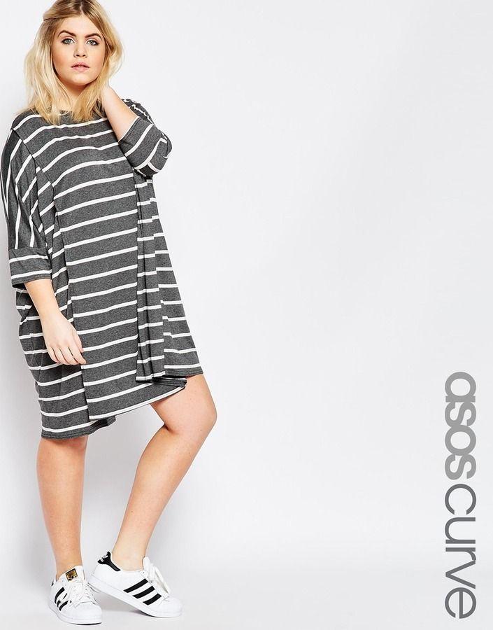 ASOS CURVE Oversized Stripe T-Shirt Dress  7ebb40b65a36