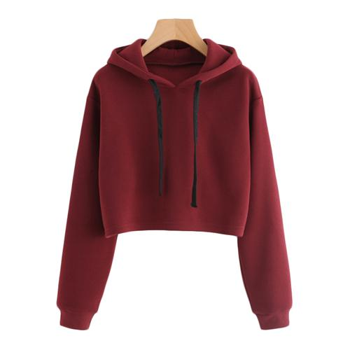 SweatyRocks Burgundy Hooded Drawstring Cashmere Sweatshirt Long Sleeve Casual Pullovers Autumn Women Sweatshirt 2