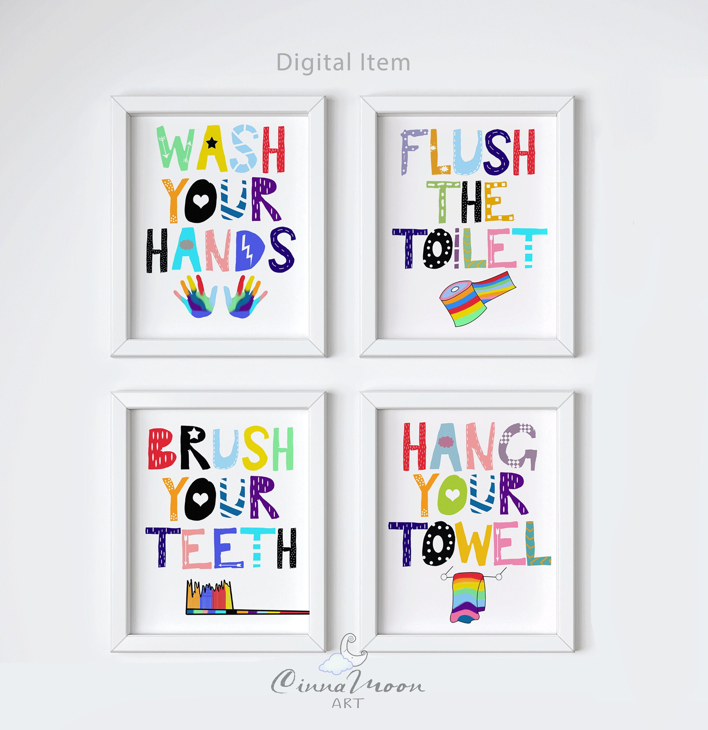 Brush Your Teeth Wash Your Hands Kids Bathroom Prints Kids Etsy In 2020 Kids Bathroom Print Kids Bathroom Wall Art Kids Bathroom Wall