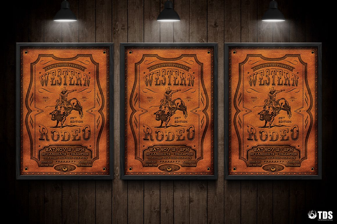 Western Rodeo Flyer Template V1 by Thats Design Store on @creativemarket