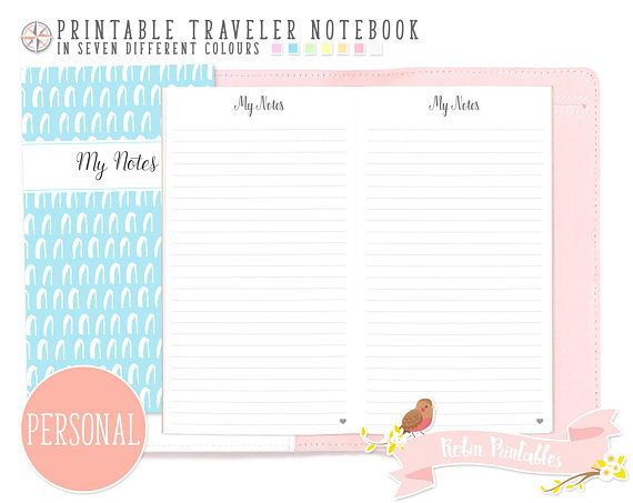 Personal Dotted Line Note Traveler Notebook Refill Printable TN - lined paper pdf