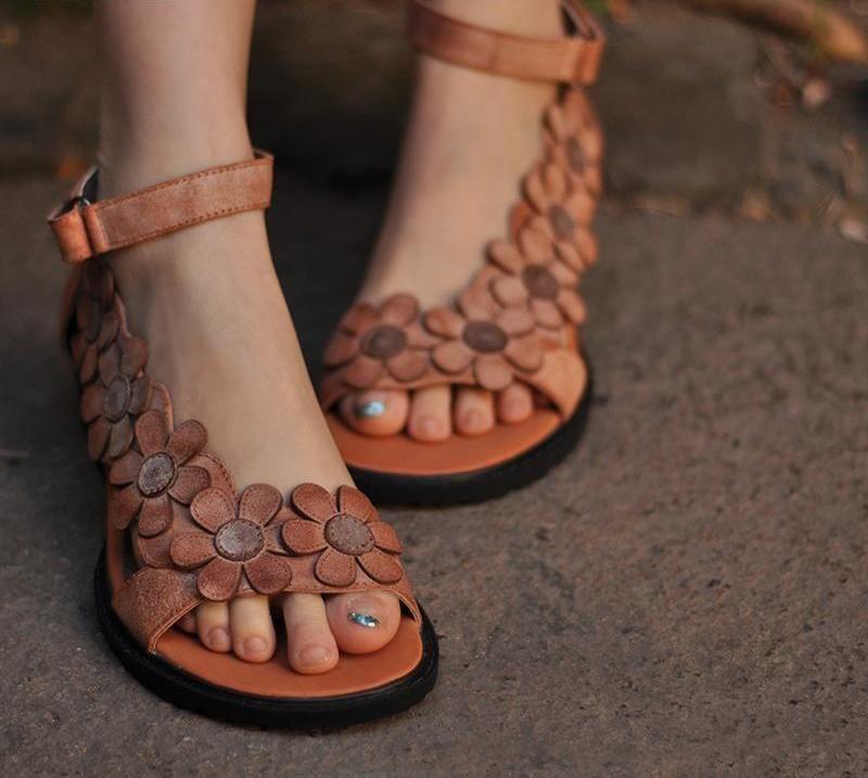 c301585dbd7b genuine leather women sandals vintage handmade women s shoes flower open  toe comfortable wedges sandals 3228-