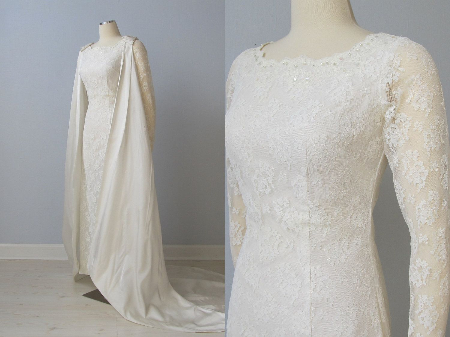 ON SALE 1960s Wedding Dress / 60s Bridal Gown / Removable