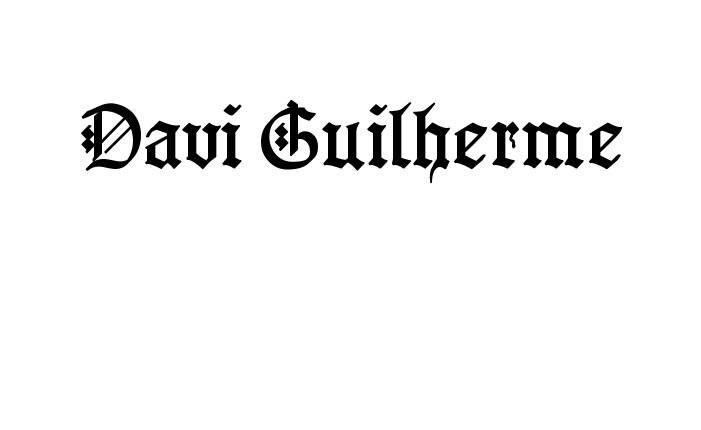 Tatuagem do nome Davi Guilherme utilizando o estilo GotenborgFraktur Regular