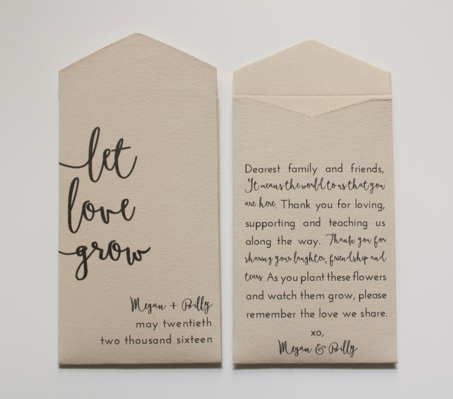 Let Love Grow Seed Packets Packet Wedding Favors Personalized Envelopes Favor B101