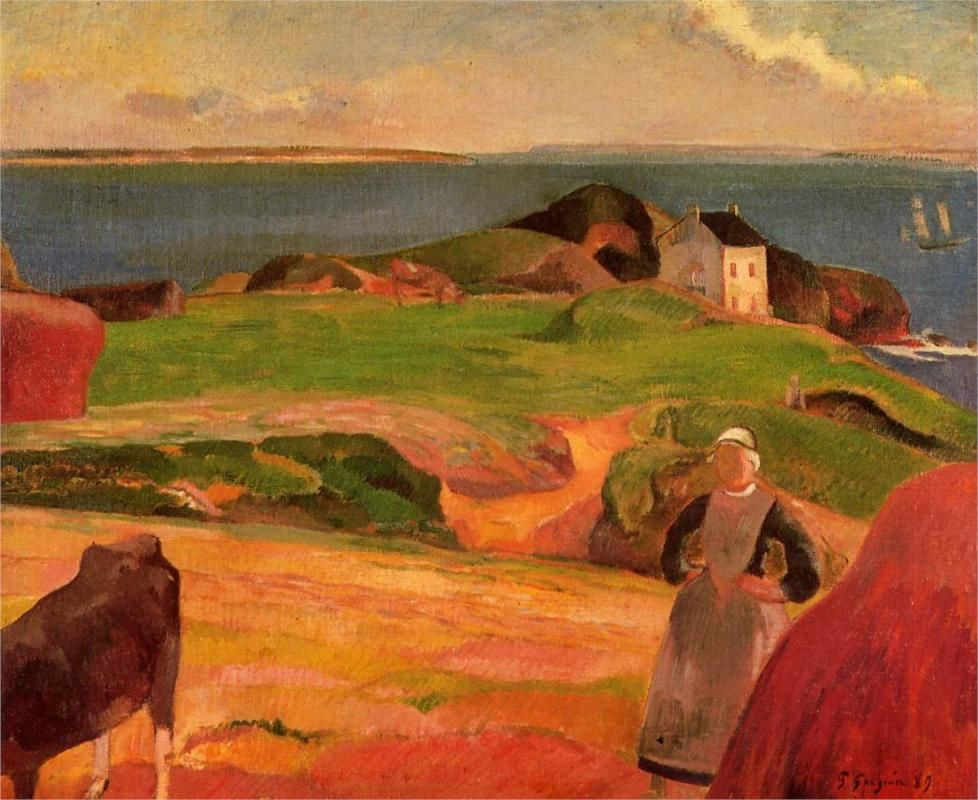 Gauguin. Landscape at Le Pouldu, the isolated house, 1889.  www.artexperiencenyc.com
