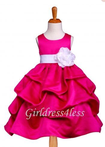 21241c088 F11 Fuchsia Full Satin Pick Up Flower Girl Dress   Flower girl and ...