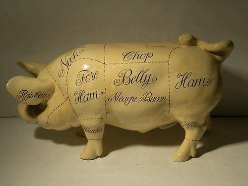 Antique Pig Piggy Bank Pork Meat Cut Chart Pottery Ceramic