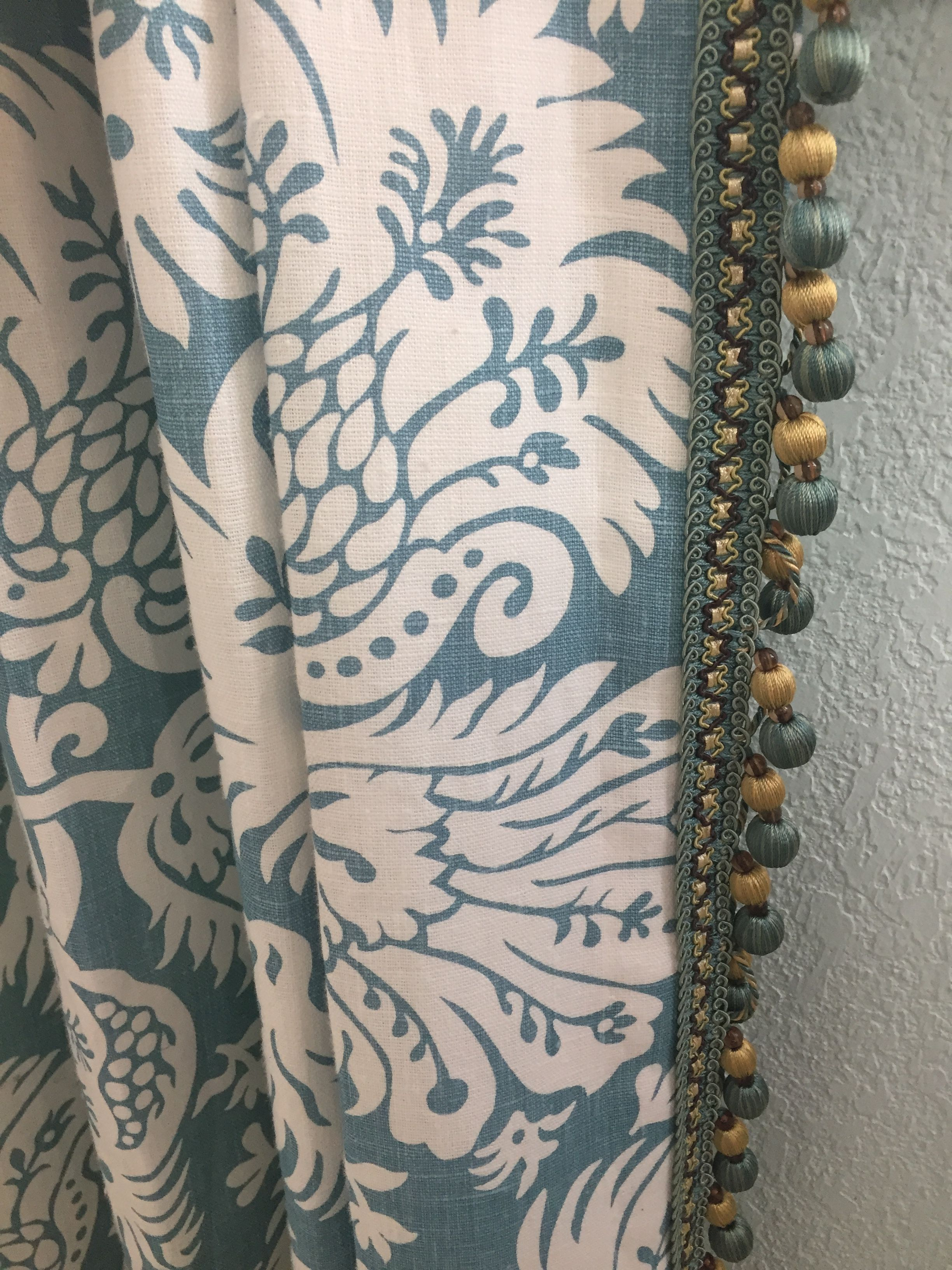 Pinched Pleat drapery panel with beaded trim