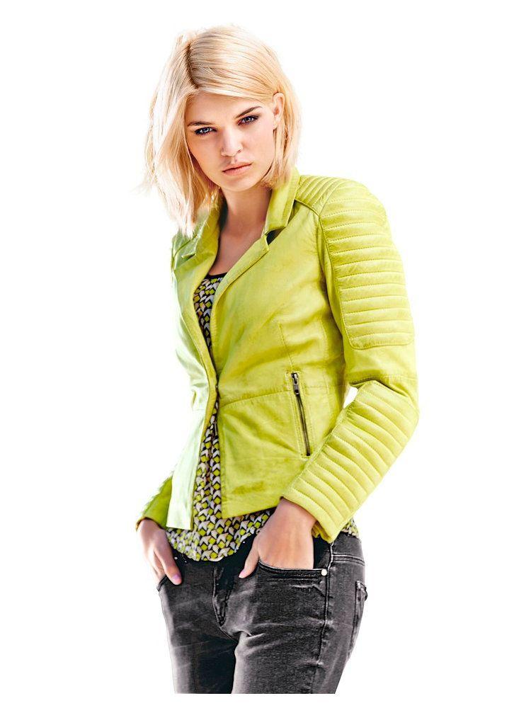 veste en cuir couleur jaune citron style motard top tendance mode tendance cuir vestes. Black Bedroom Furniture Sets. Home Design Ideas