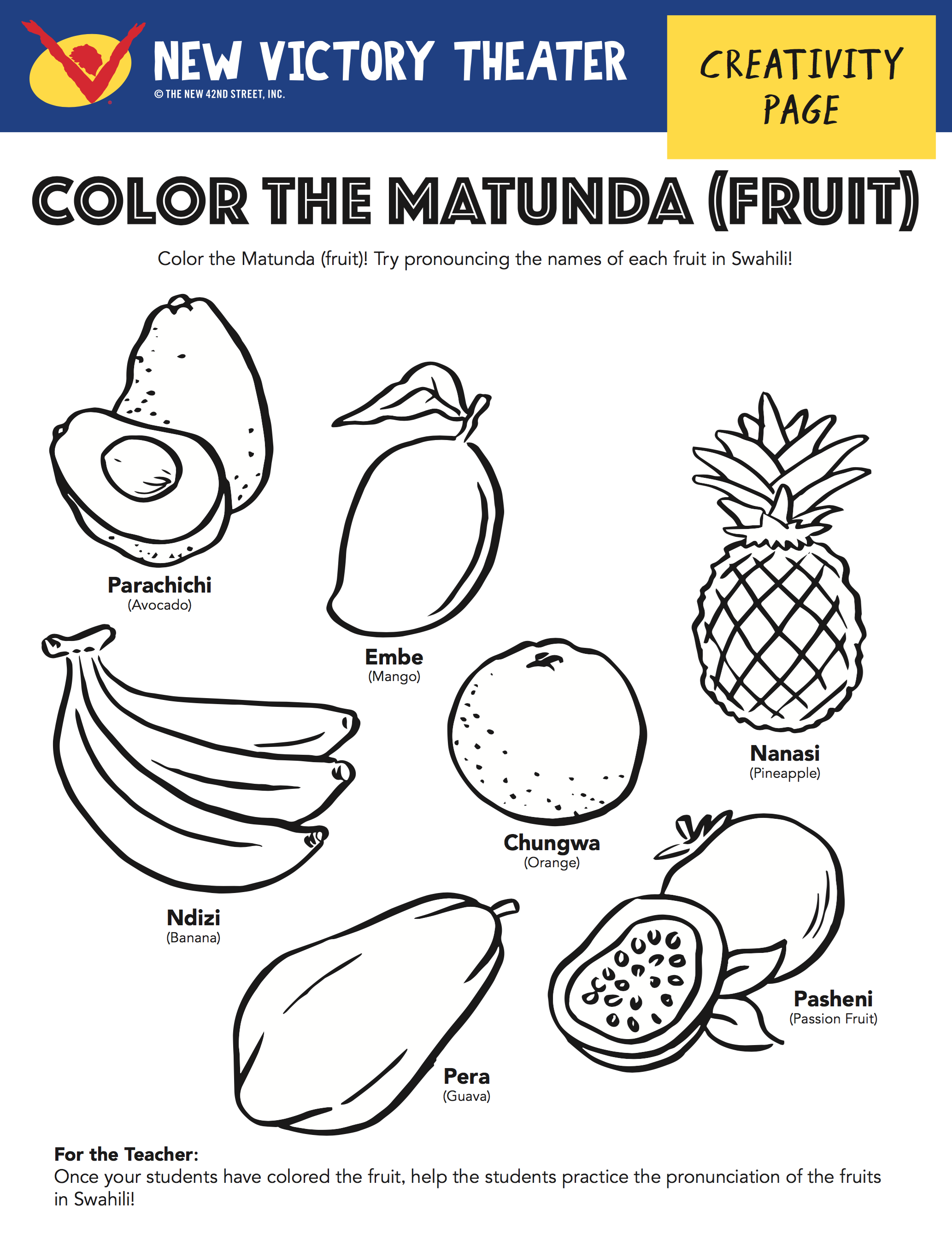 Color The Fruit While Practicing Their Names In Swahili