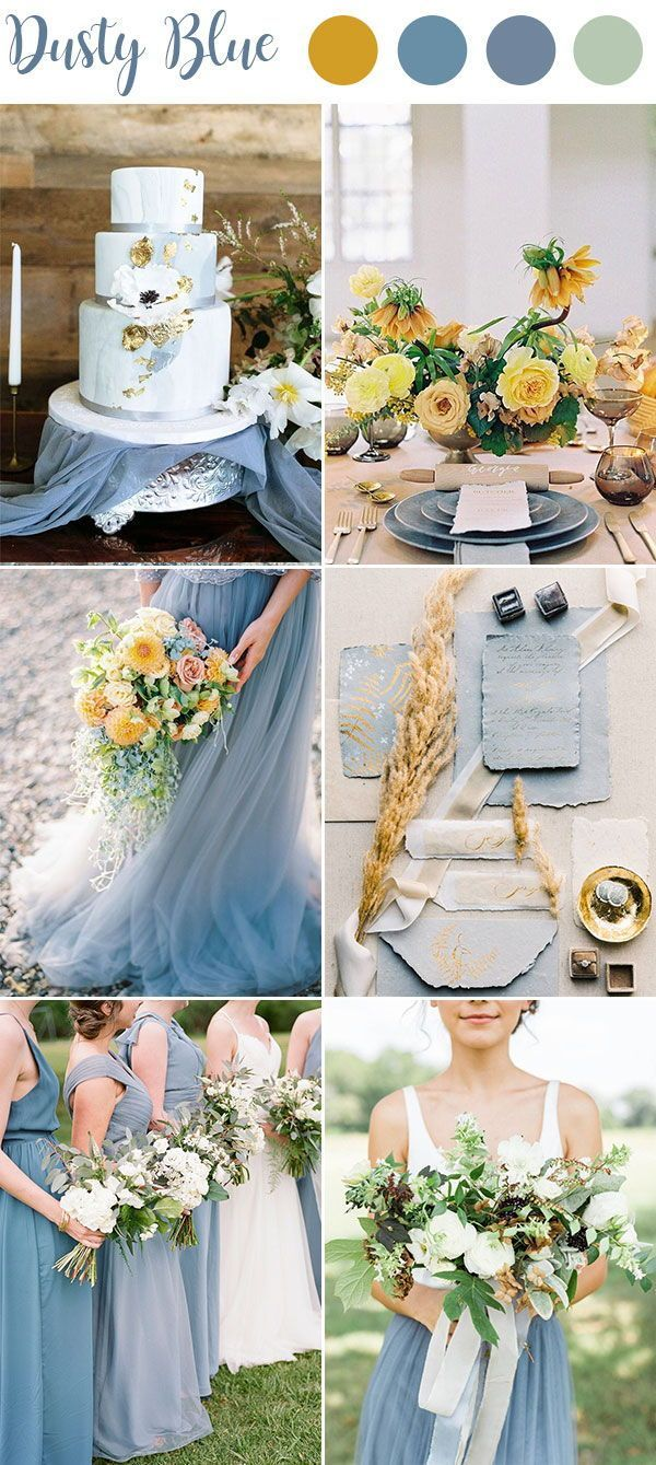 Yellow, Gold and Dusty Blue Wedding Theme Colors.  Spring and Summer Wedding Color Inspiration.