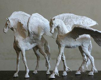 white horse art paper mache animal wedding gift horse ornament