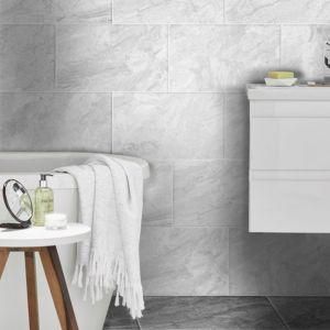 Haver Travertine Mist Stone Effect Plain Ceramic Wall Floor Tile Pack Of 6 L 298mm W 498mm Tile Floor White Wall Tiles Flooring