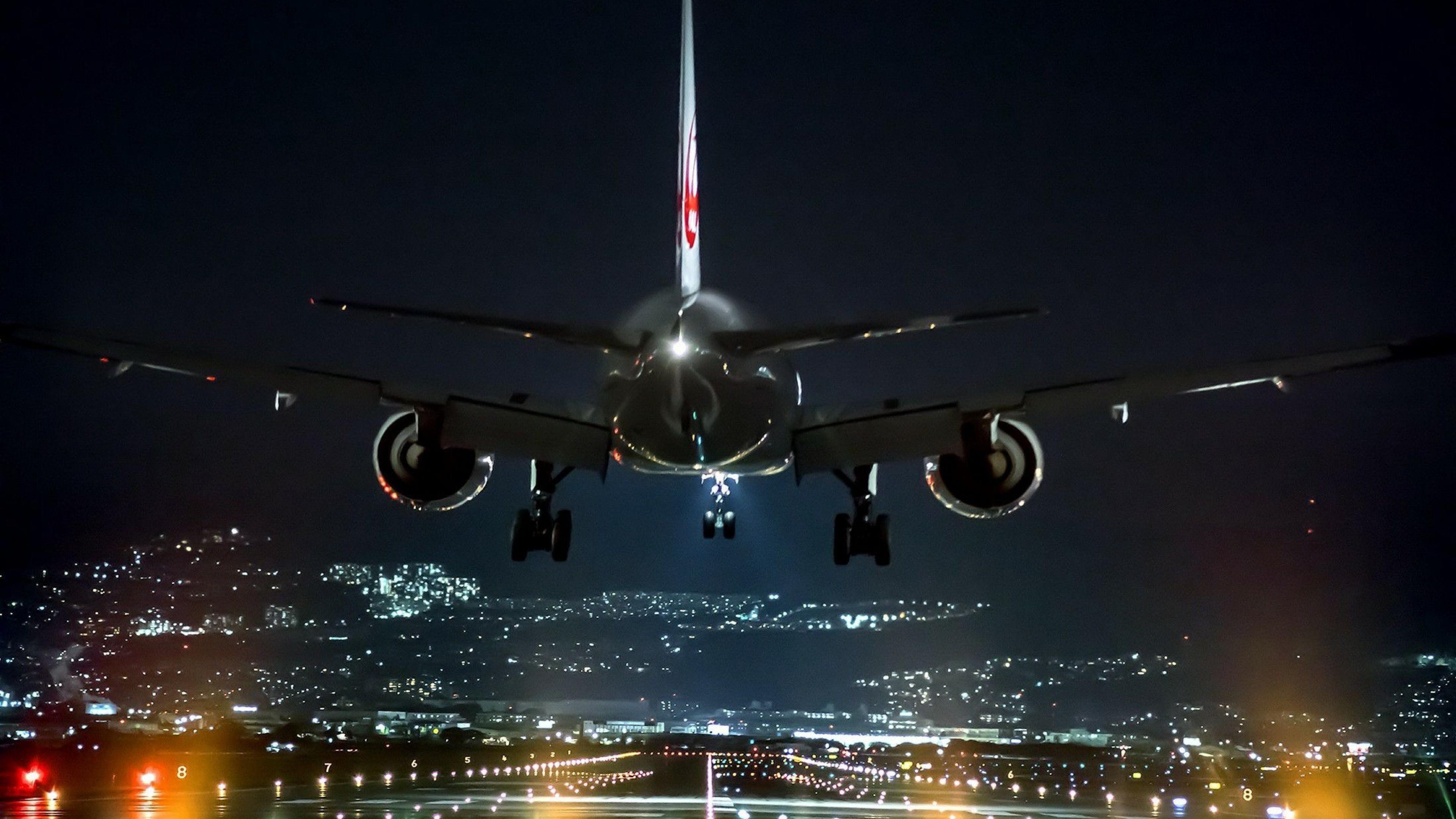 Airplane Night Flight Airline Air Travel Aviation Airliner Sky Landing Aircraft Airbus 4k Wallpaper Hdwallpaper Desktop