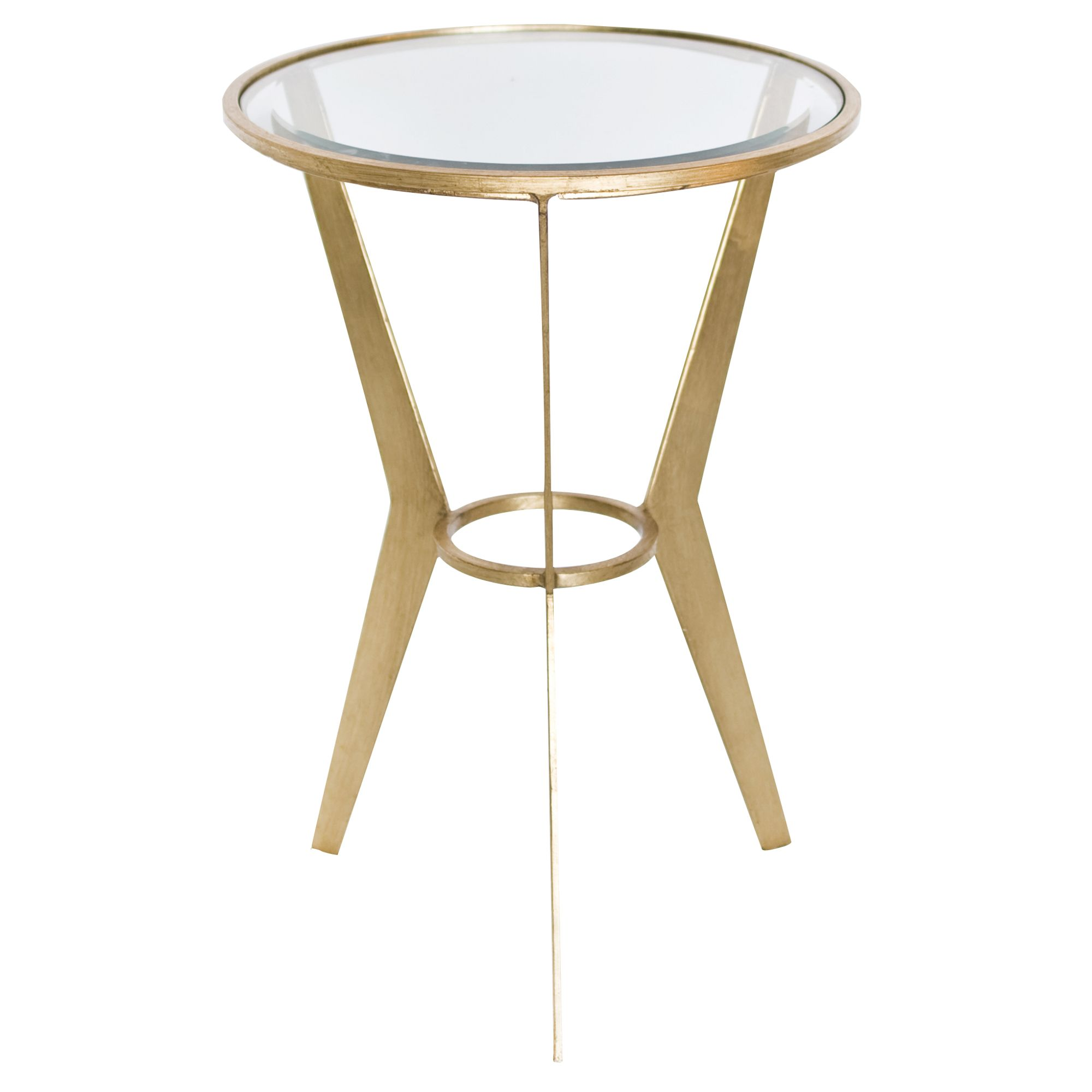retro mid century side table in gold leaf with beveled clear glass top